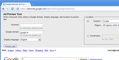 Google AdWords Ad Preview Tool